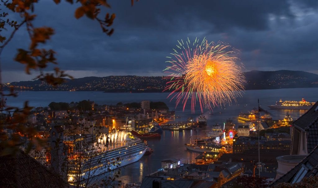 Fireworks on Norway's nationl day.