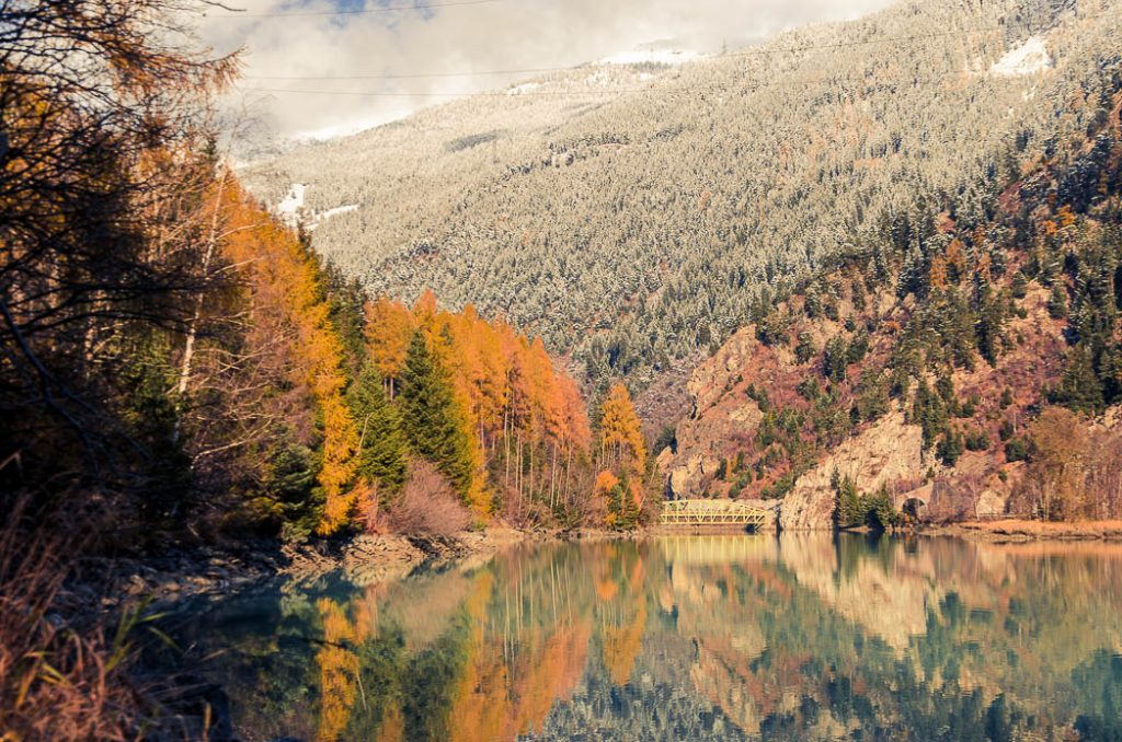 Autum, Winter and a Sunset all combine to offer magical scenes in the Alps.