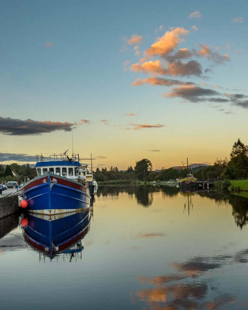 The mooring basin in Banavie, just outside Fort William.