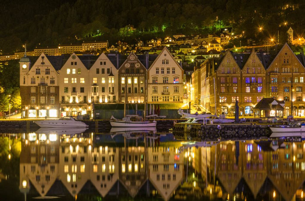 Bergen City center at night.