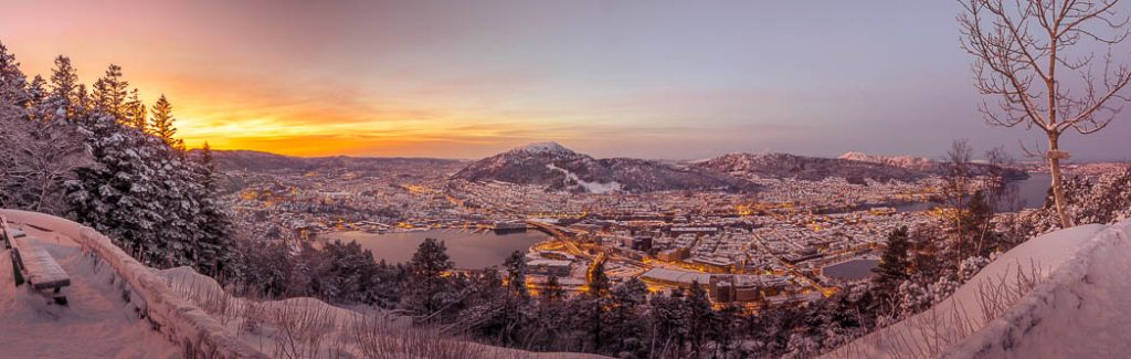 Sunrise over the city of Bergen, coated in a fresh dusting of snow.