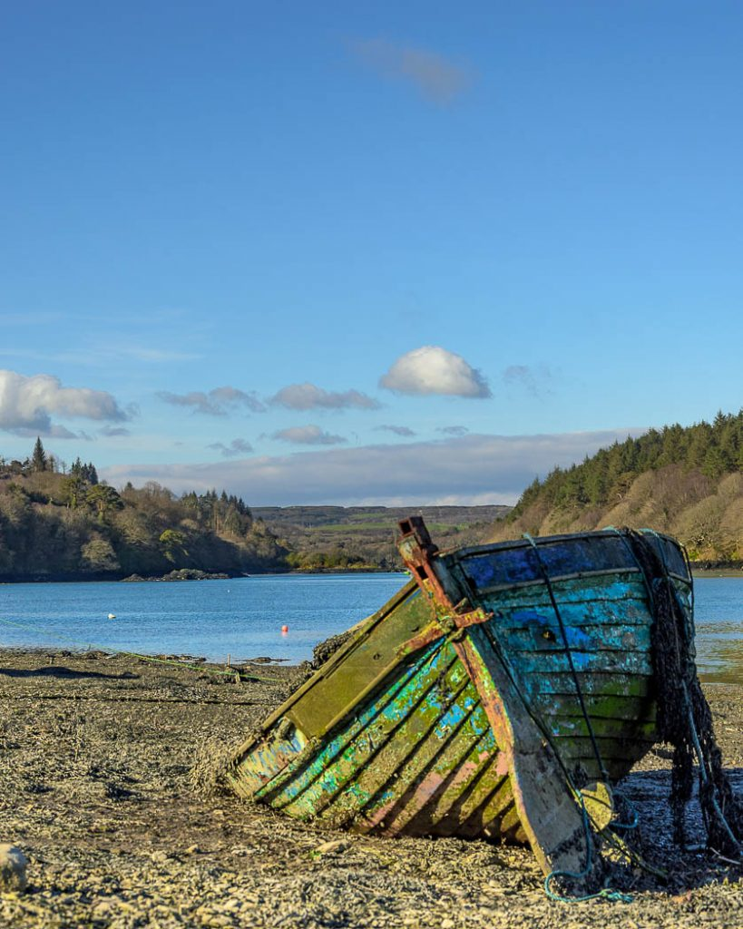 Old boat stranded at low tide on the Wild Atlantic Way.