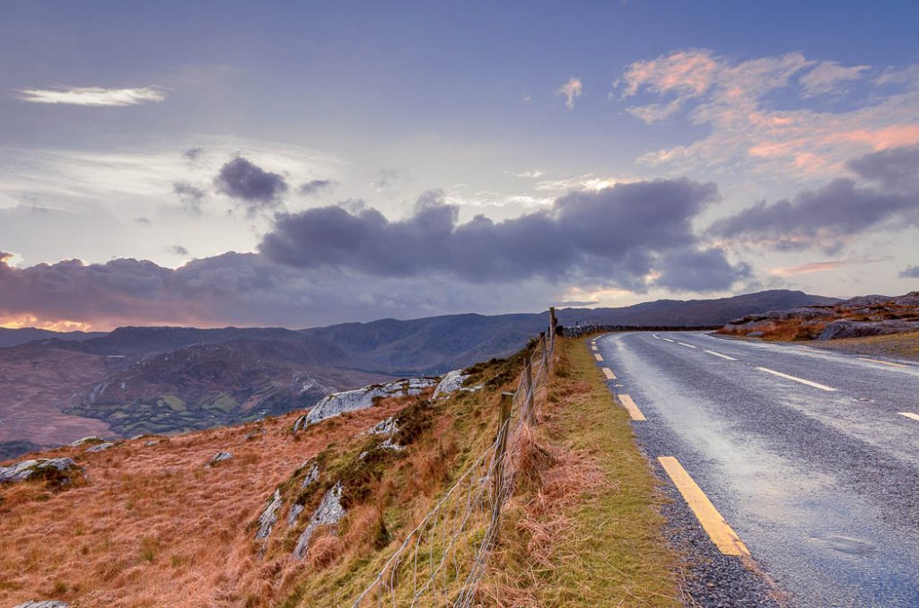 The road from Glengarriff to Kenmare passes though beautiful scenery between Counties Cork and Kerry.
