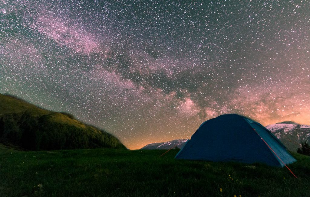 Campsite above St. Jakob in Dalfreggen. Osttirol is one of the few areas in Austria with minimal light pollution.