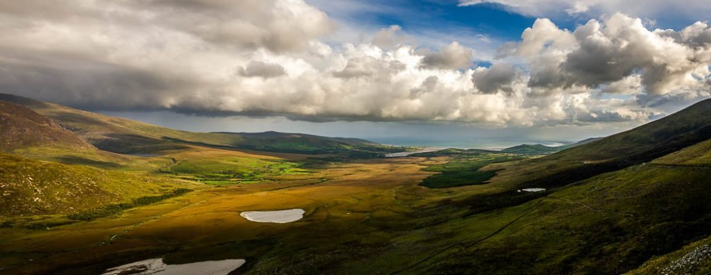 The view from Connor Pass on the Dingle Peninsula in Co. Kerry; the highest pass in Ireland.