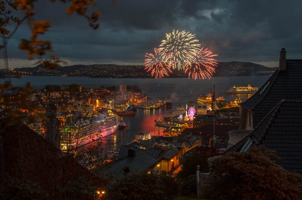 17th of May is Norway's National Holiday. The fireworks are over the bay to protect the many wooden houses.