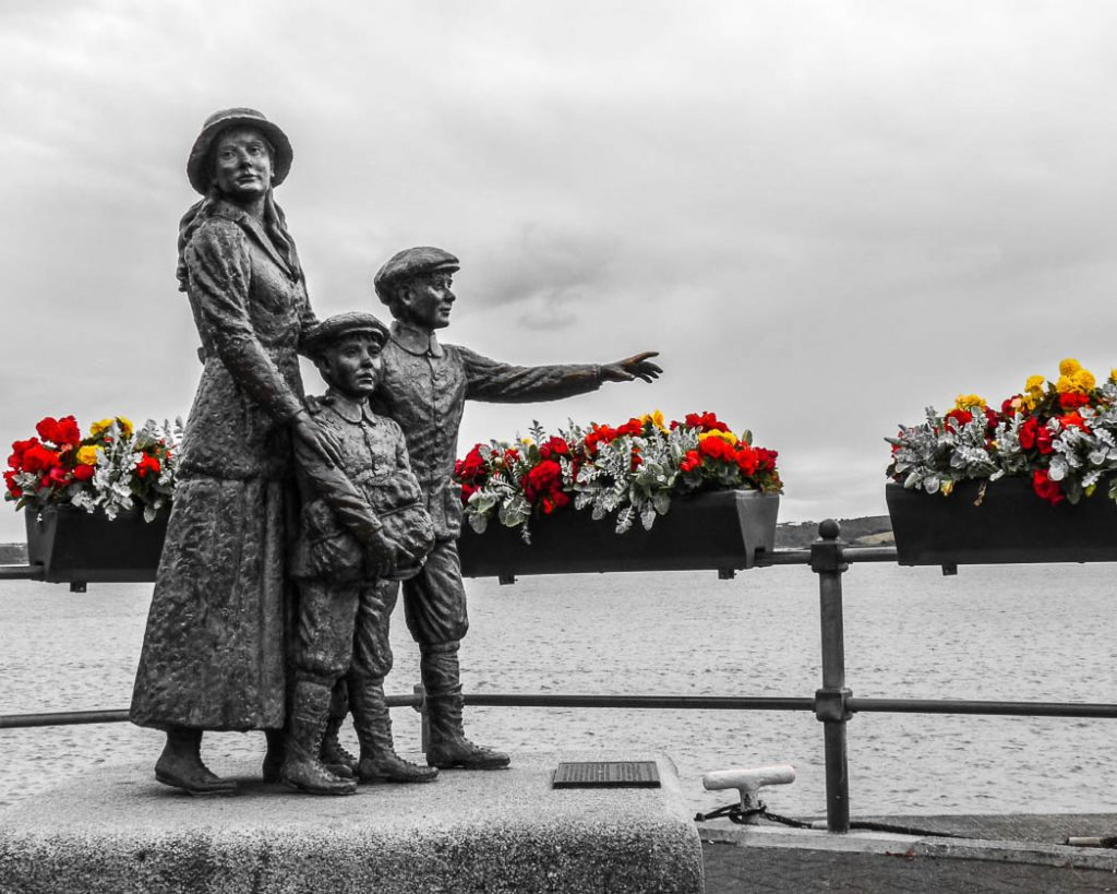 Annie Moore, the first immigrant to be processed at Ellis Island in New York. This statue is in Cobh at the start of her journey.