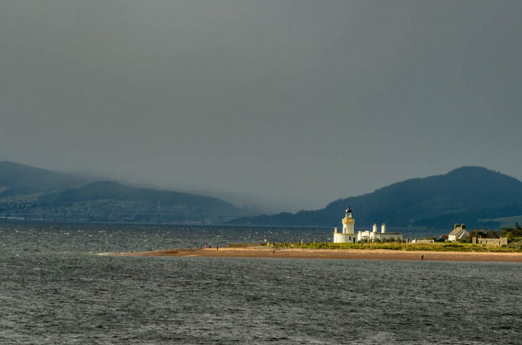 The Moray Firth is famous for its Dolphins that search for trout at the tidal bottleneck caused by this spit of land.