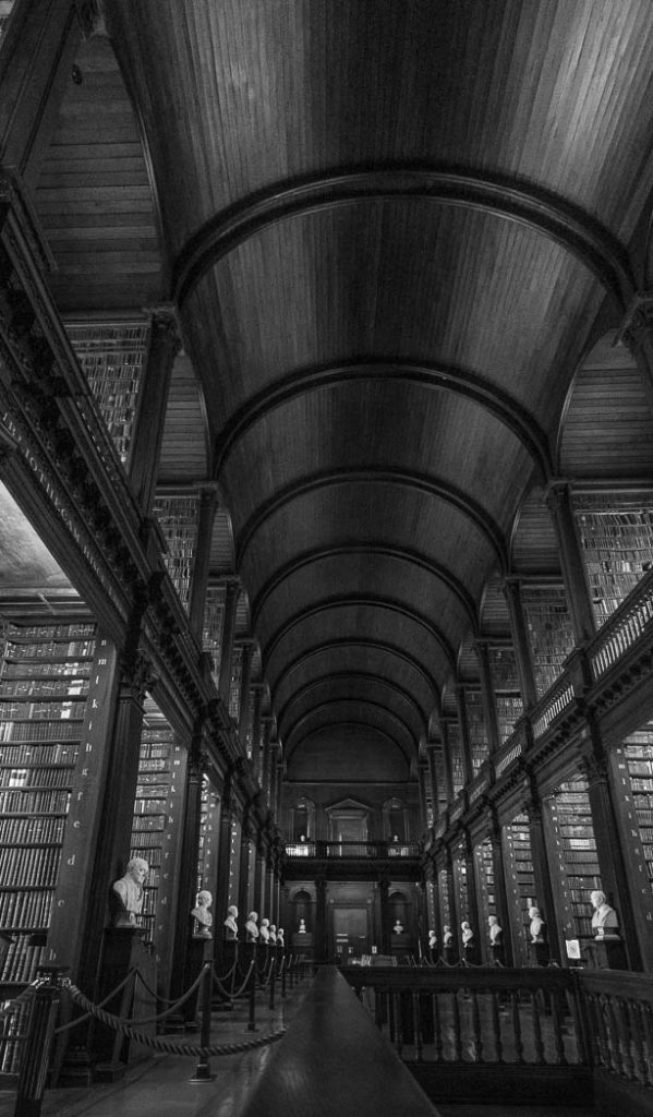 The long library of Trinity College, the oldest University in Ireland
