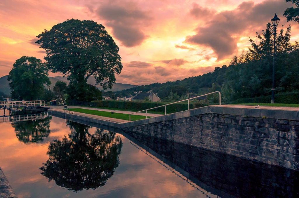 Reflection of the sunset in the locks at Neptune's Staircase on the Caledonian Canal