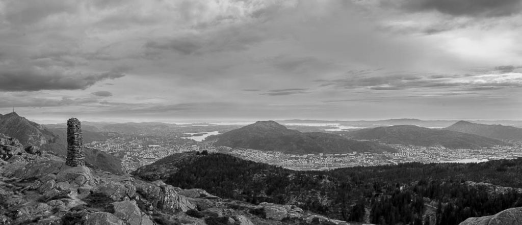 The view of Bergen from the top of Blåmannen.
