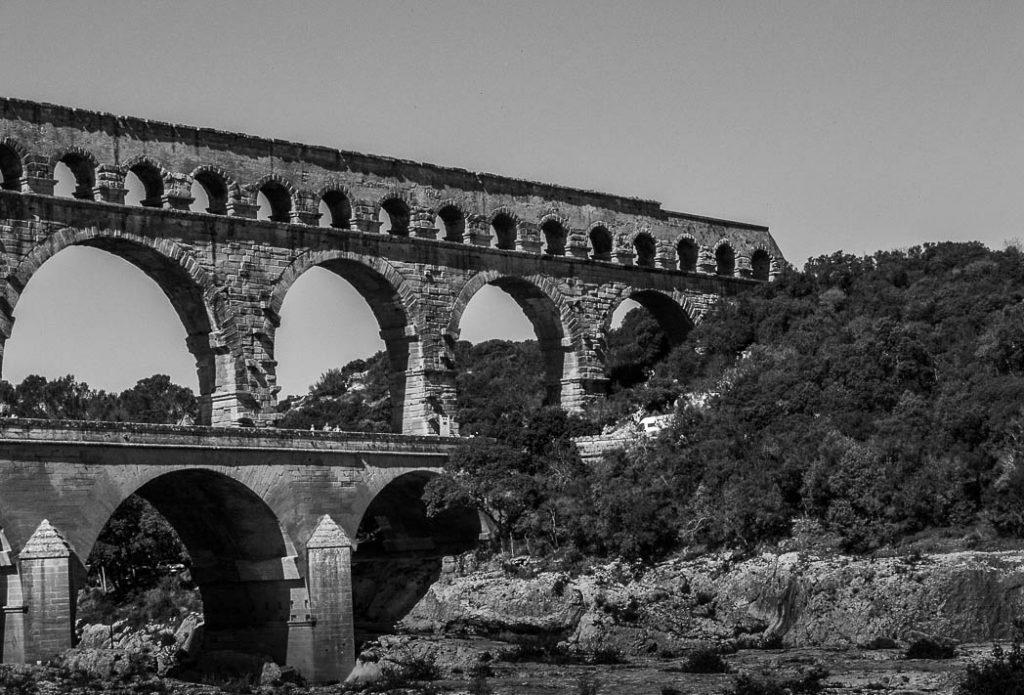 The famous Roman aquaduct over the river Gard in the south of France.