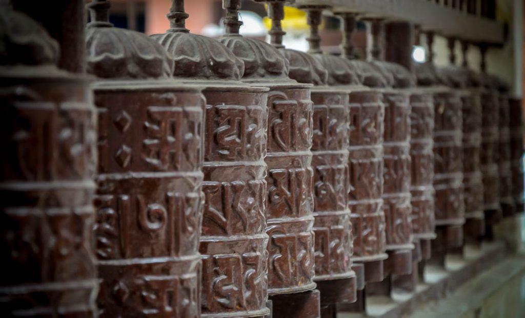 Buddhist prayer wheels in Kathmandu, Nepal.