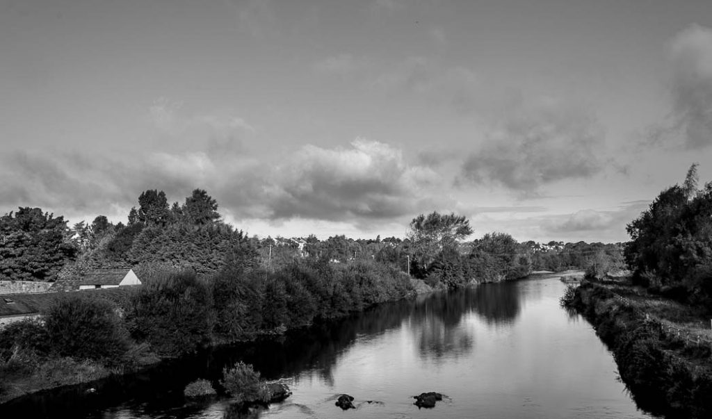 Looking north from a bridge in Kilkenny, the great centre of Irish Hurling.