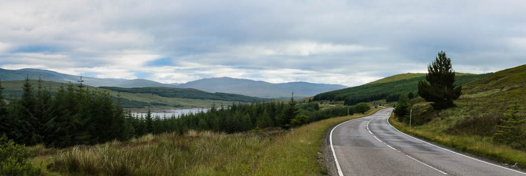 The road above Glengarry in the Scottish Highlands.