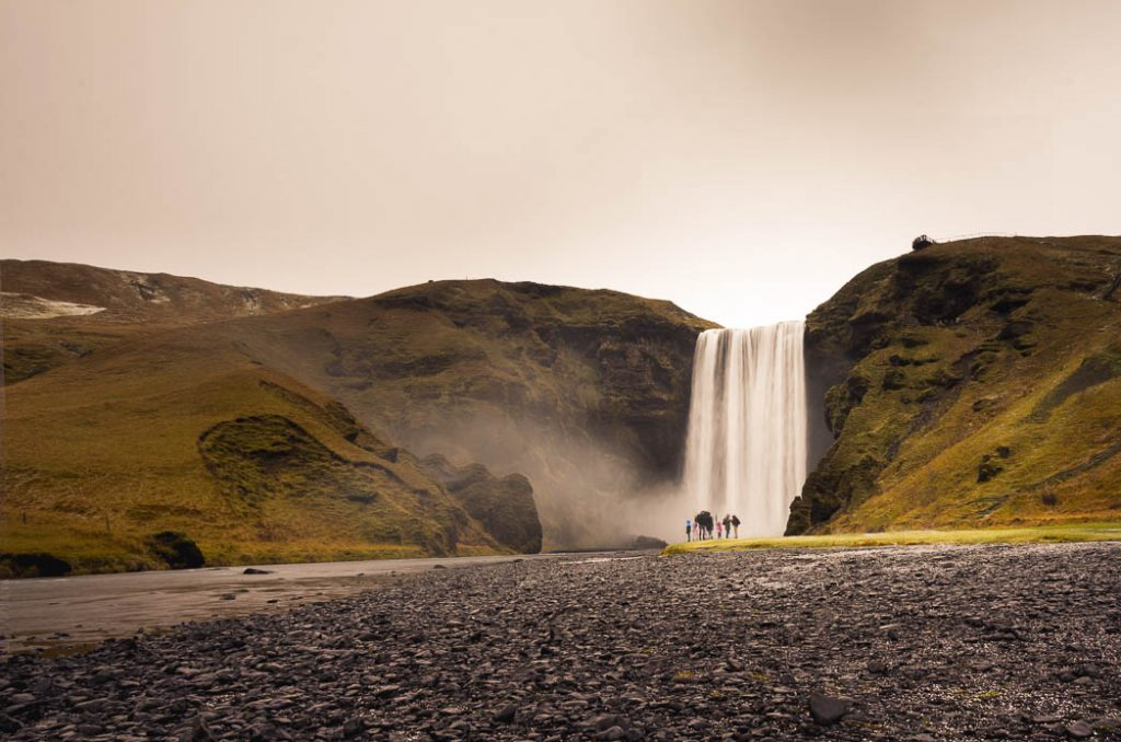 Skogafoss is on the Ring Road in Iceland and so is visited quite a lot.