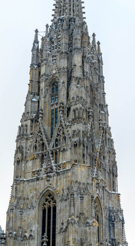 The spire of the gothic St. Stephen's in Vienna.