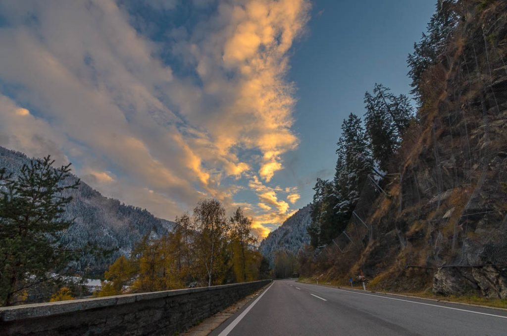 Fresh snow, autumn colours and a great sunset. Makes driving in Tirol interesting.