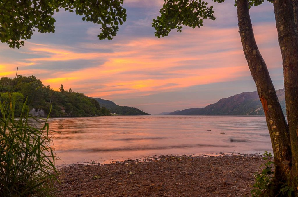 Loch Ness is 23 miles long and from one end you can't see the other. However you can see the other sides easily as it is narrow and deep.