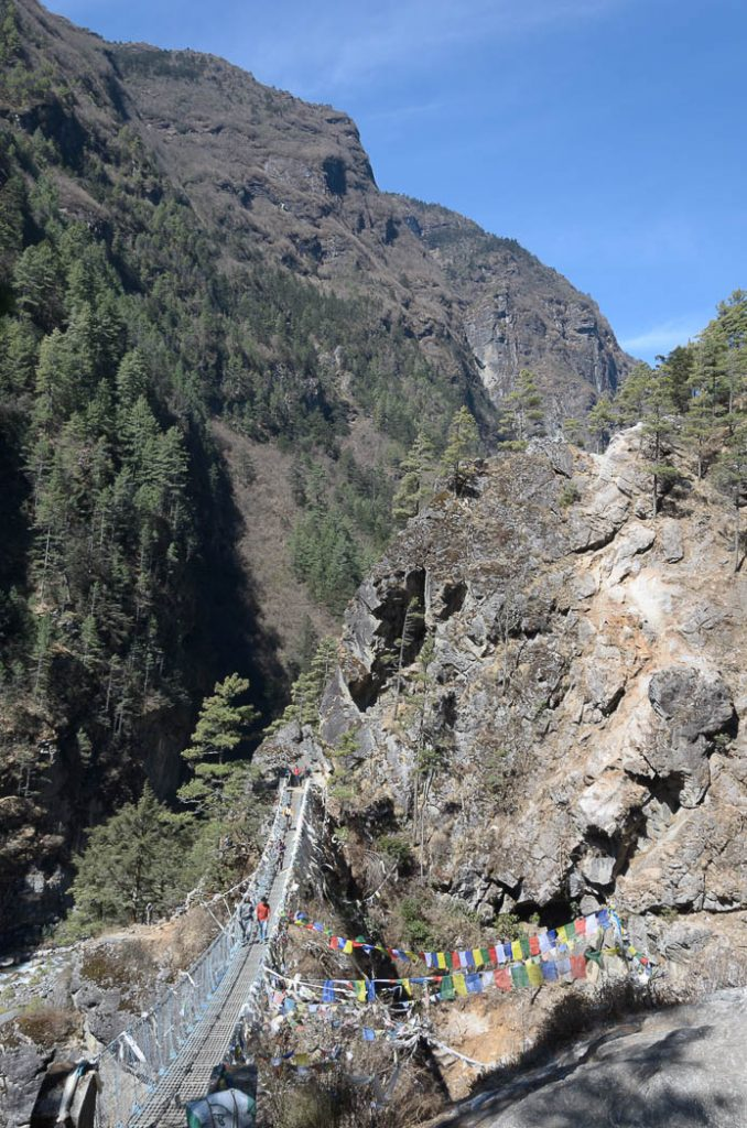 Swinging suspension bridges are important infastructure in the Everest Region. Though there are no 'roads' the main paths are significantly shortened by these gravity-defying bridges.