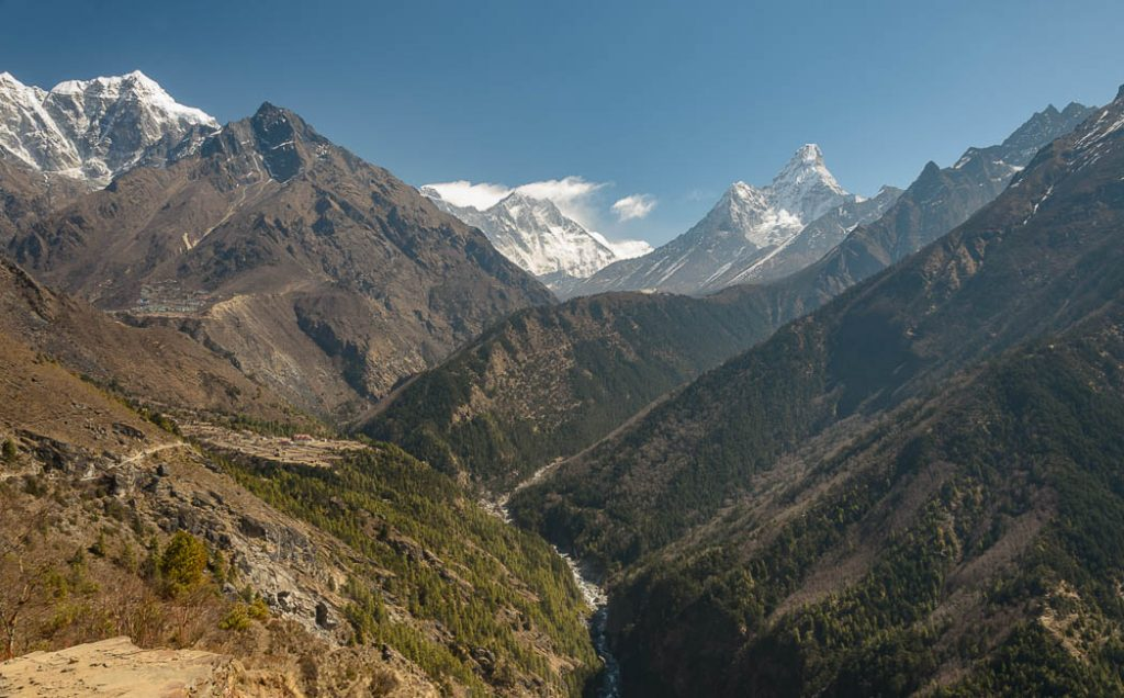 The Dudh Koshi is the river than drains the glaciers of Mt. Everest's flanks.