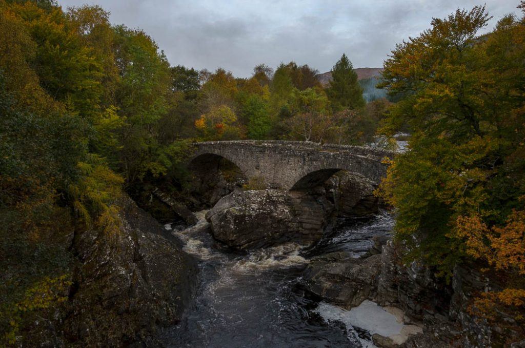 The Bridge in Invermorriston was built by the renowned Engineer Thomas Telford in the 1800's. A more modern one overlooks it today.
