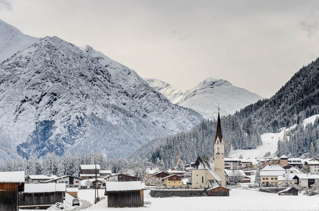 Elmen in Lechtal, a cute little Austrian village covered in Snow in the early winter.