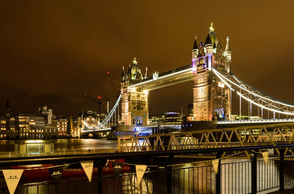 The famous Tower Bridge in London.