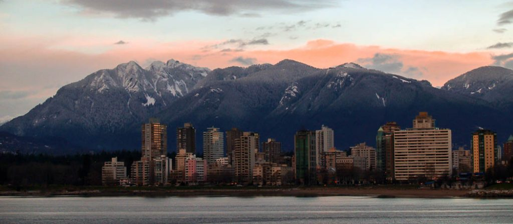 Skyline of Vancouver in the winter sun from Kitsilano side.