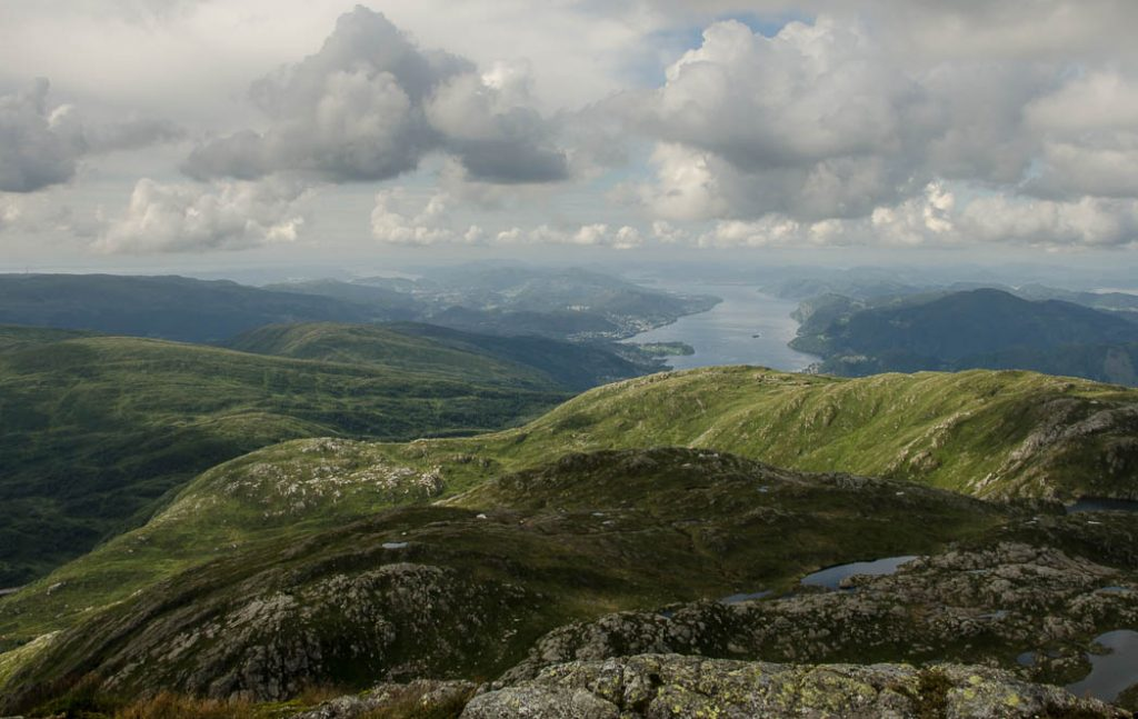 The view from the top of Gulfjellet,the highest mountain in Bergen, the gateway to the Norwegian fjords.