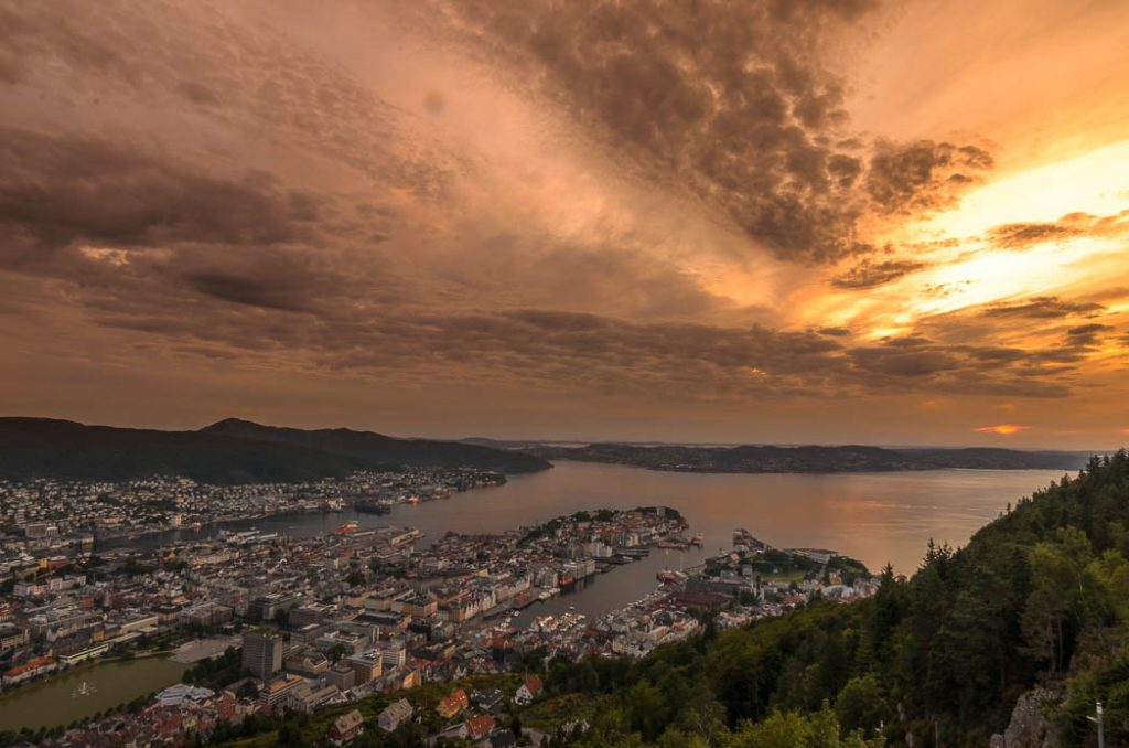 Sunsent over Bergen, taken from the top of the funicular on Mt. Fløien.