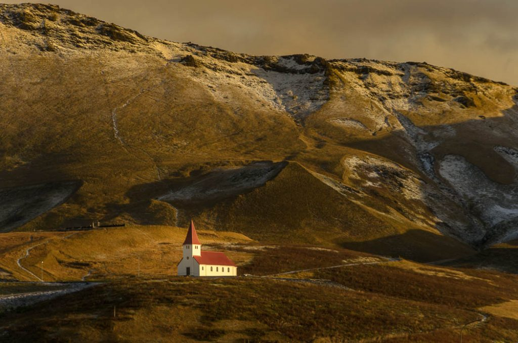 The church of Vik, on the South Coast of Iceland.
