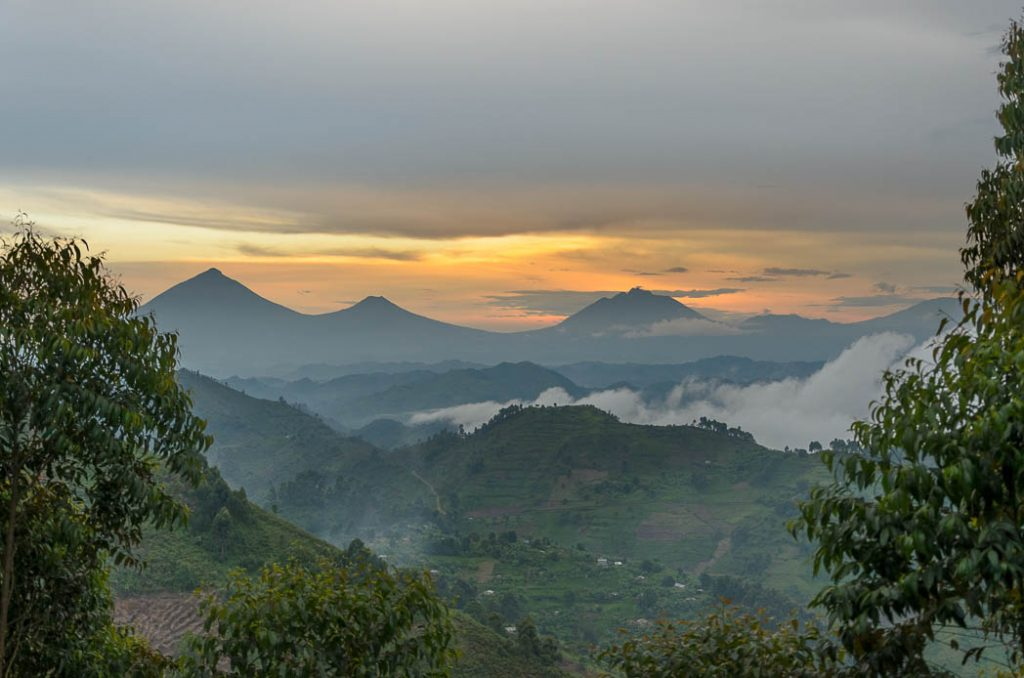 Looking towards the Virunga hills in the Congo. Niyaragongo volcano in the distance.