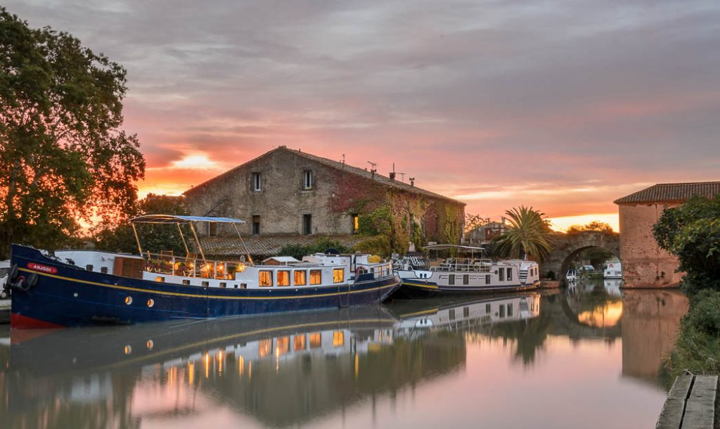 Sunrise in the hamlet of Le Somail where canal travellers spend the night.